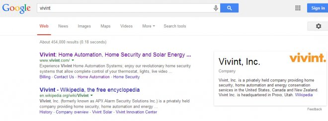 Vivint is back at the top of Google