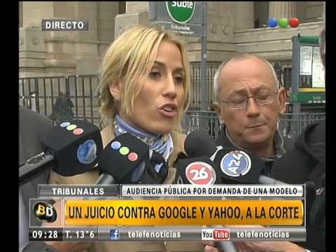 Maria Belen Rodriguez outside court in Buenos Aires (YouTube)
