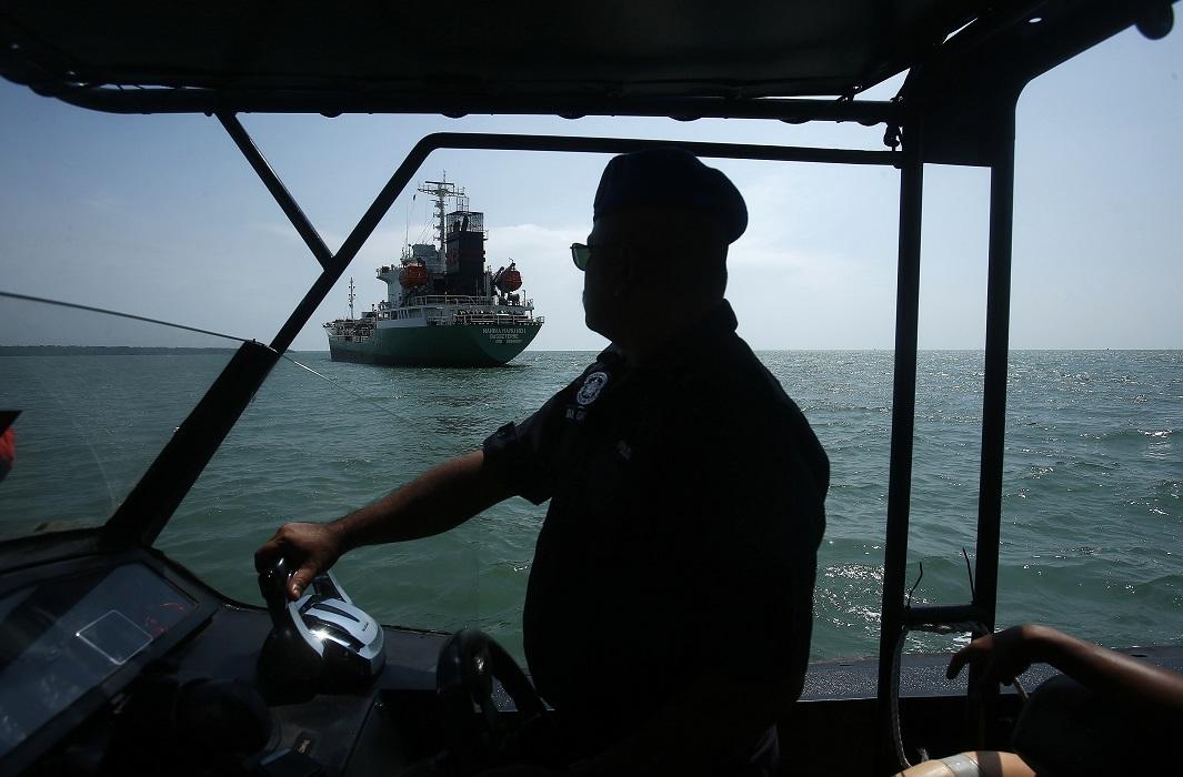 Maritime police off the coast of Malaysia