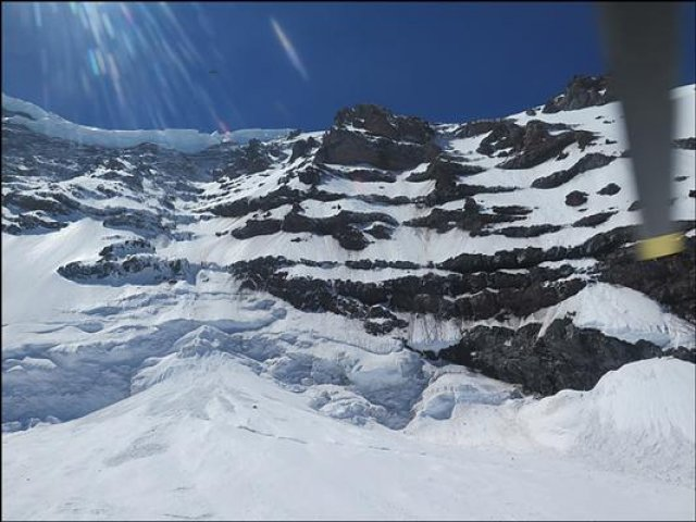 The area where the climbers are believed to have fallen on Mount Rainier.
