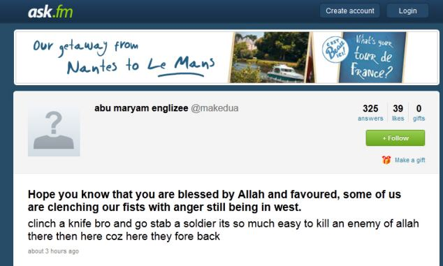 ask.fm posting by Jabbar, in which he urges Muslims to wage jihad.