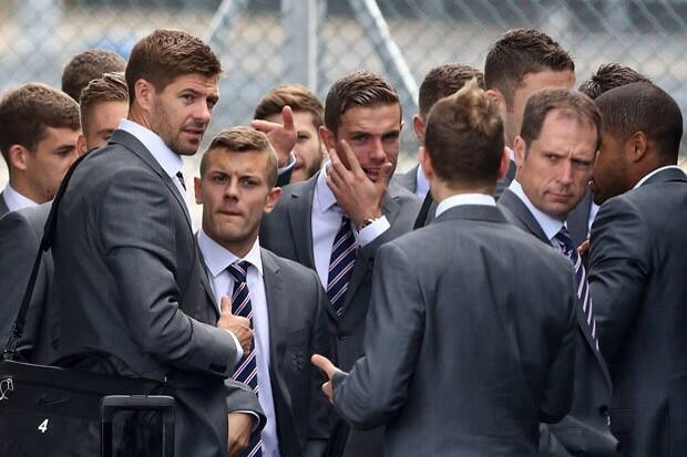 Simon Brodkin with England World Cup squad
