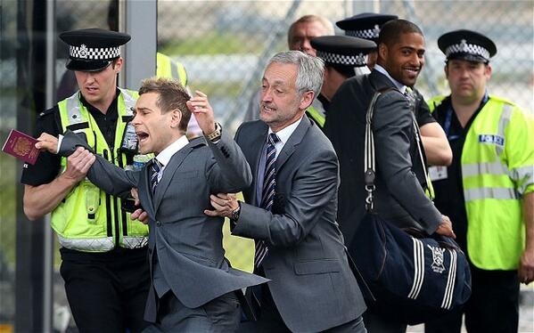 Comedian Simon Brodkin tries to gatecrash England squad's departure