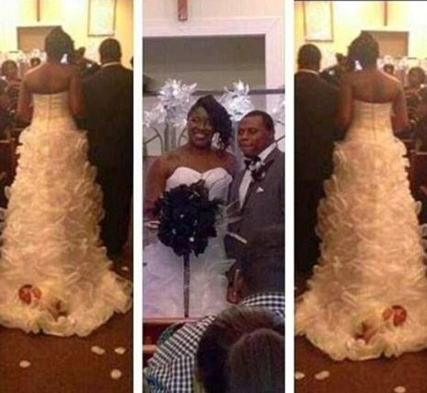 Shona Carter-Brooks tied one-month-old Aubrey to her wedding train and dragged her as she walked down the aisle.