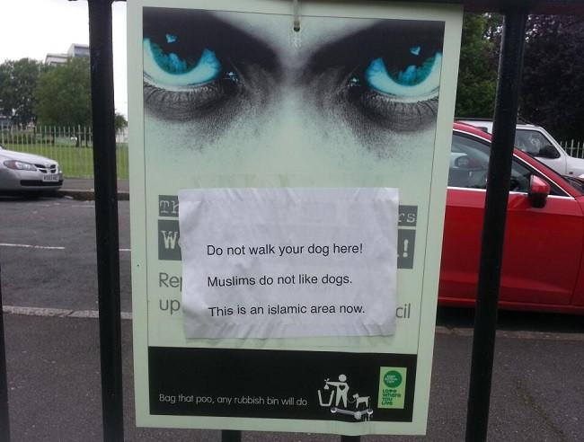 Offensive poster was put up outside Bartlett Park, Poplar
