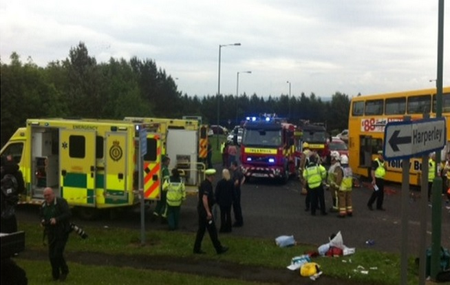 Bus crash scene in Durham, from where two children were rushed to hospital