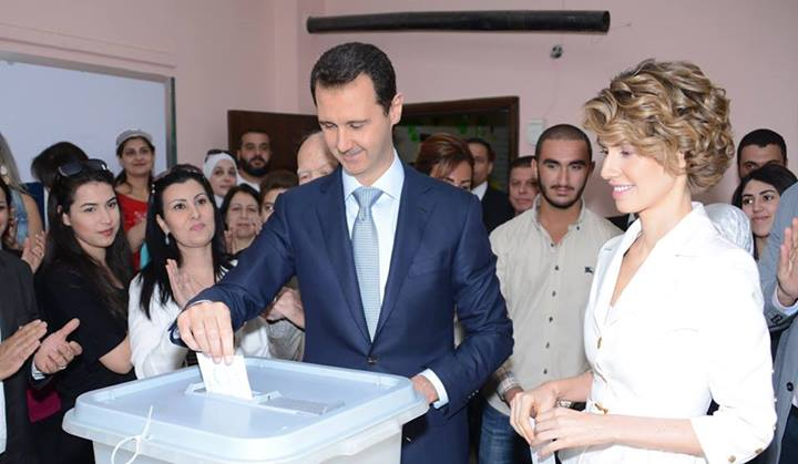 Syrian president Bashar al-Assad votes asma