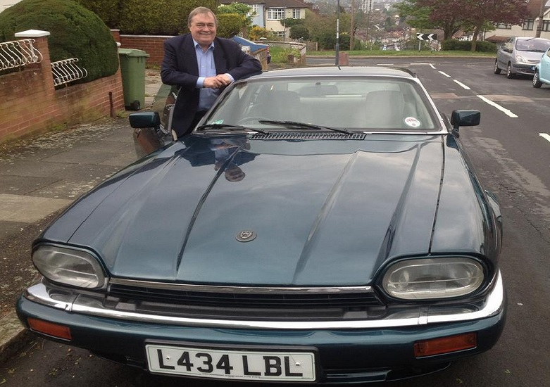 John Prescott - posing with his stylish motor, looks to have been a loving owner of the 1994 Jaguar