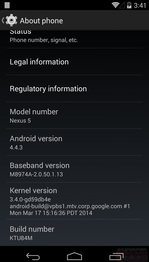 Nexus 5 Receives Android 4.4.3 (KTU84M) Official OTA ...