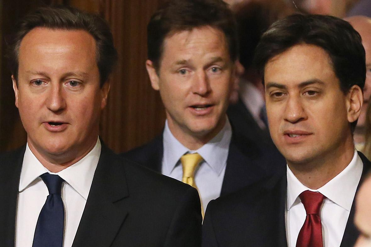 David Cameron Nick Clegg and Ed Miliband