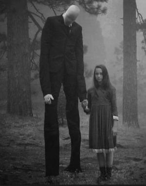 Slender Man with girl