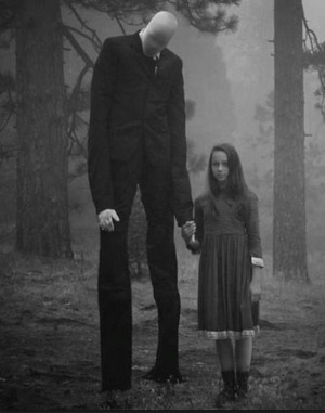 Slender Man with girl