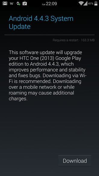 HTC One M7, One M8, Galaxy S4 and Sony Z Ultra Google Play Editions Receive Android 4.4.3 OTA Update [Download Links]