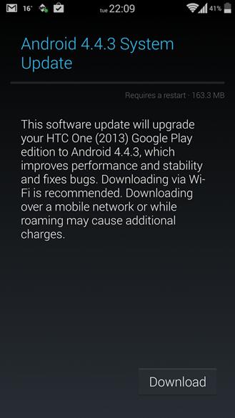 Android 4.4.3 OTA Update