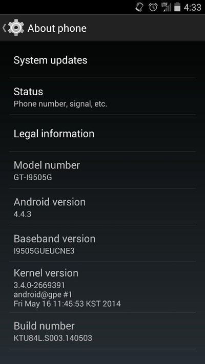 Android 4.4.3 Update