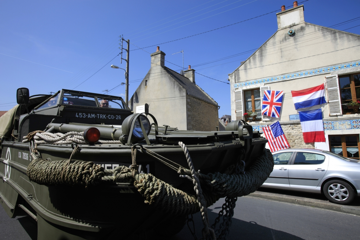 Dave Roe, a British military vehicle collector drives his