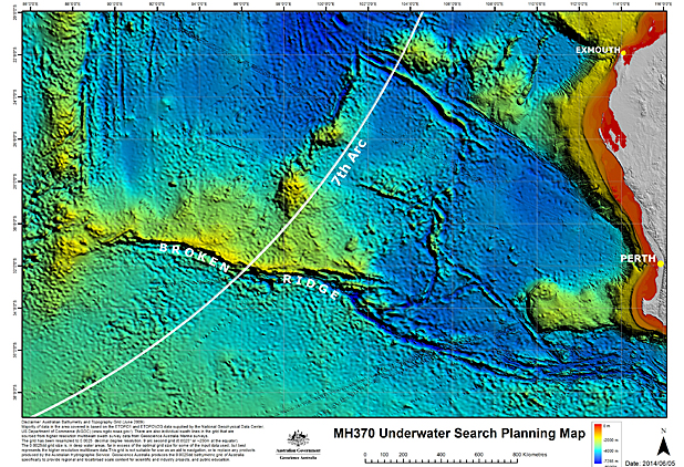 MH370 7th arc new search area map