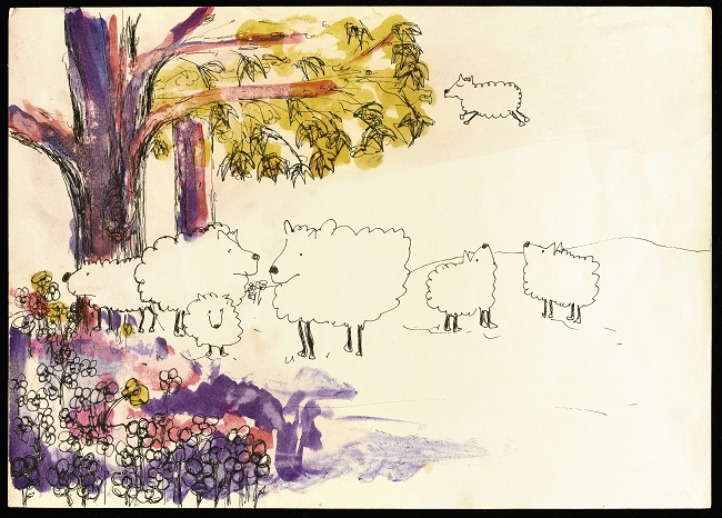 'Oh Dear Sheep' from 'Bernice's Sheep' water drawing.