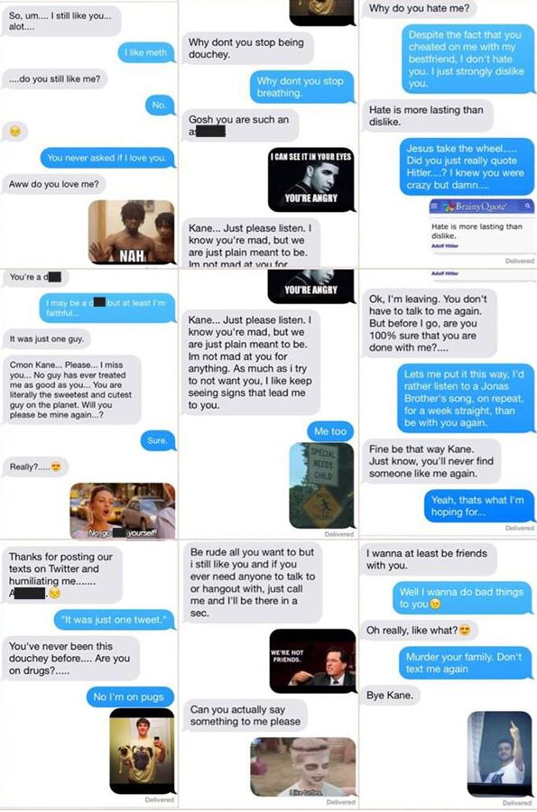 Kane Zipperman posted the entire text exchange with his former girlfriend on Twitter.