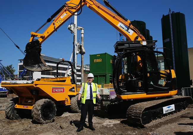Diggers at the regeneration of Elephant & Castle in London