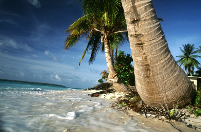 Over the past two decades rising tide levels have eroded some 300 metres from the tip of the Marshall Islands' capital Majuro.