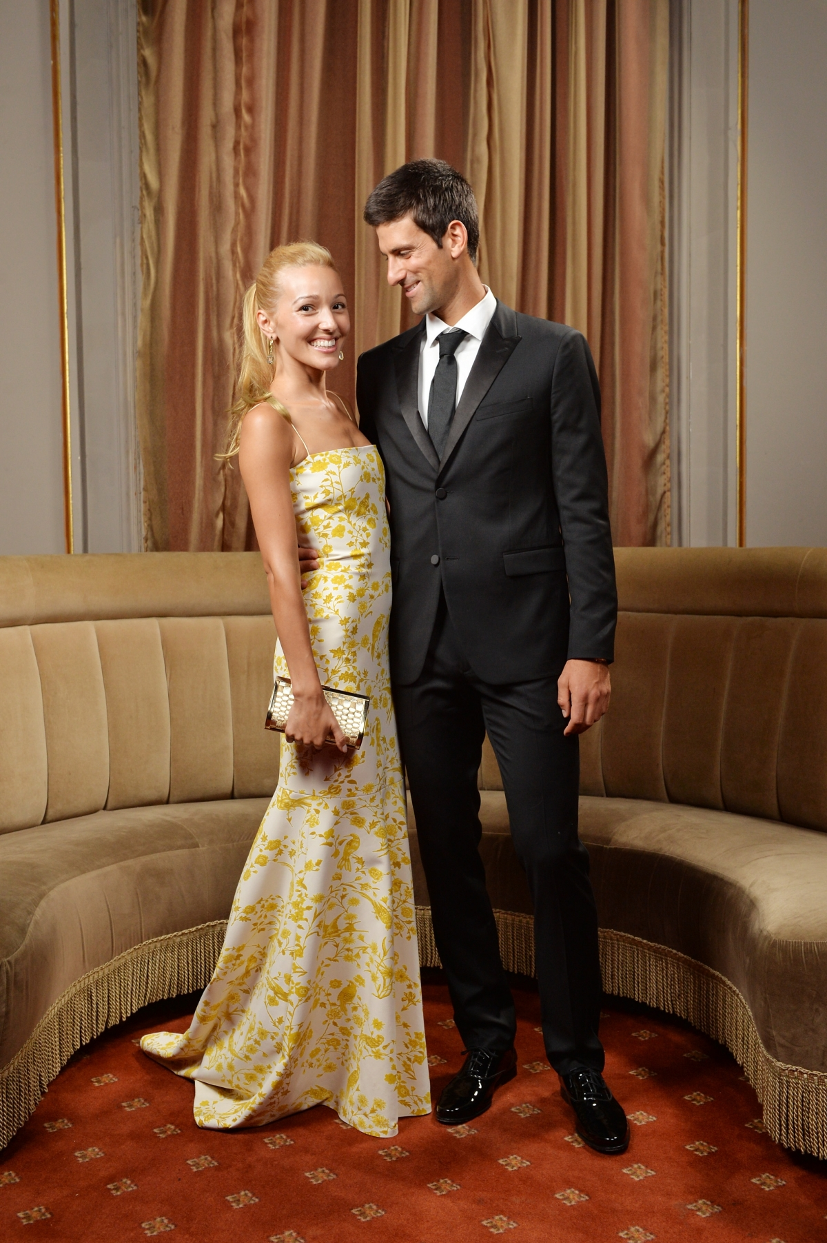 The couple attend a New York fundraiser for the Novak Djokovic Foundation. (Getty)