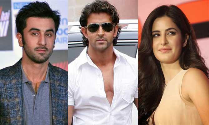 Ranbir Kapoor, Hrithik Roshan and Katrina Kaif