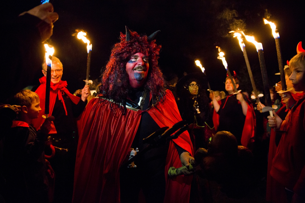 An occult devotee celebrates the Walpurgisnacht pagan festival