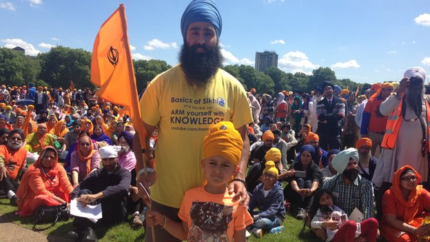 Sikhs gathered at the protest in Hyde Park.