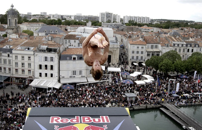 Gary Hunt dives from a 27.5-metre platform during the Red Bull Cliff Diving World Series.