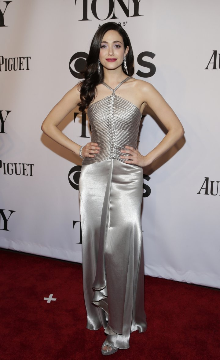 Actress Emmy Rossum arrives for the American Theatre Wing's 68th annual Tony Awards at Radio City Music Hall in New York, June 8, 2014.