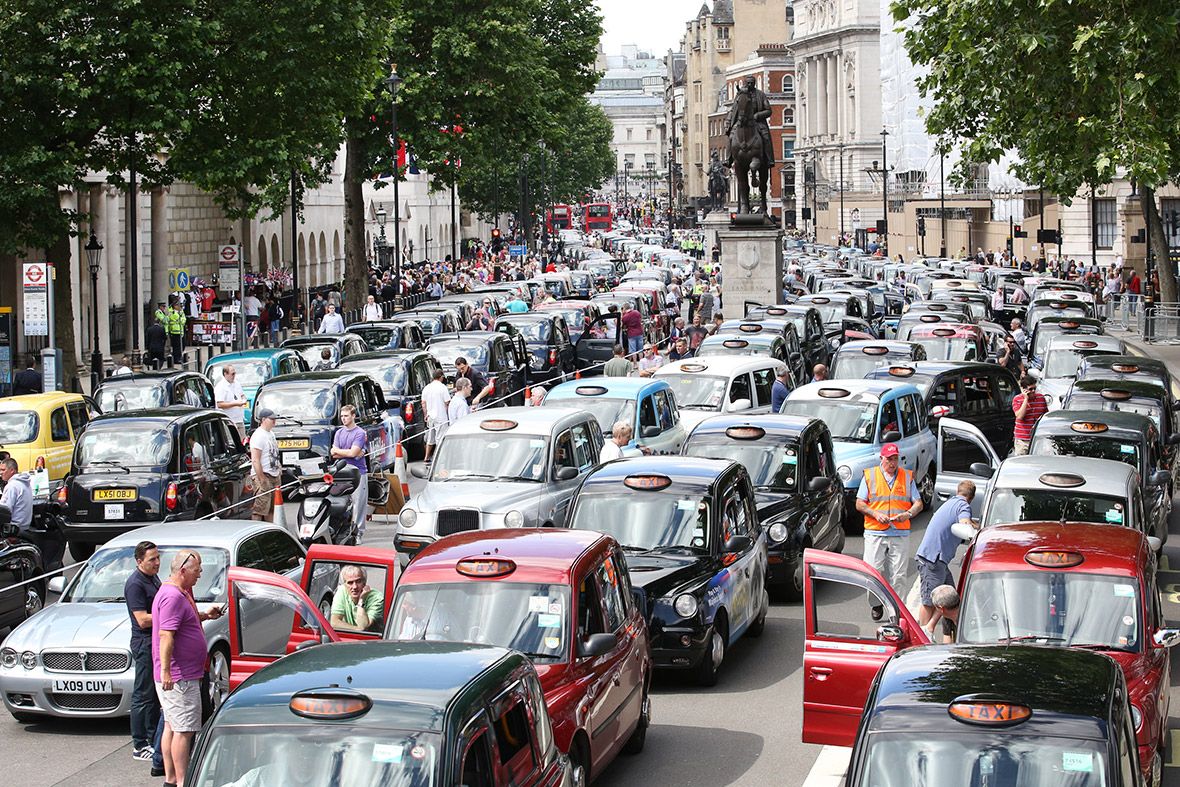 A previous Uber taxi protest London