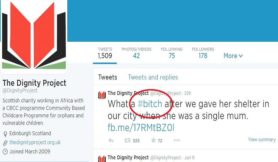 """Tweet from the Dignity Project Twitter account branded JK Rowling """"a bitch"""" for backing Better Together"""