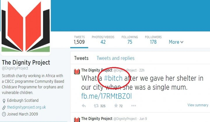 Tweet from the Dignity Project Twitter account branded JK Rowling