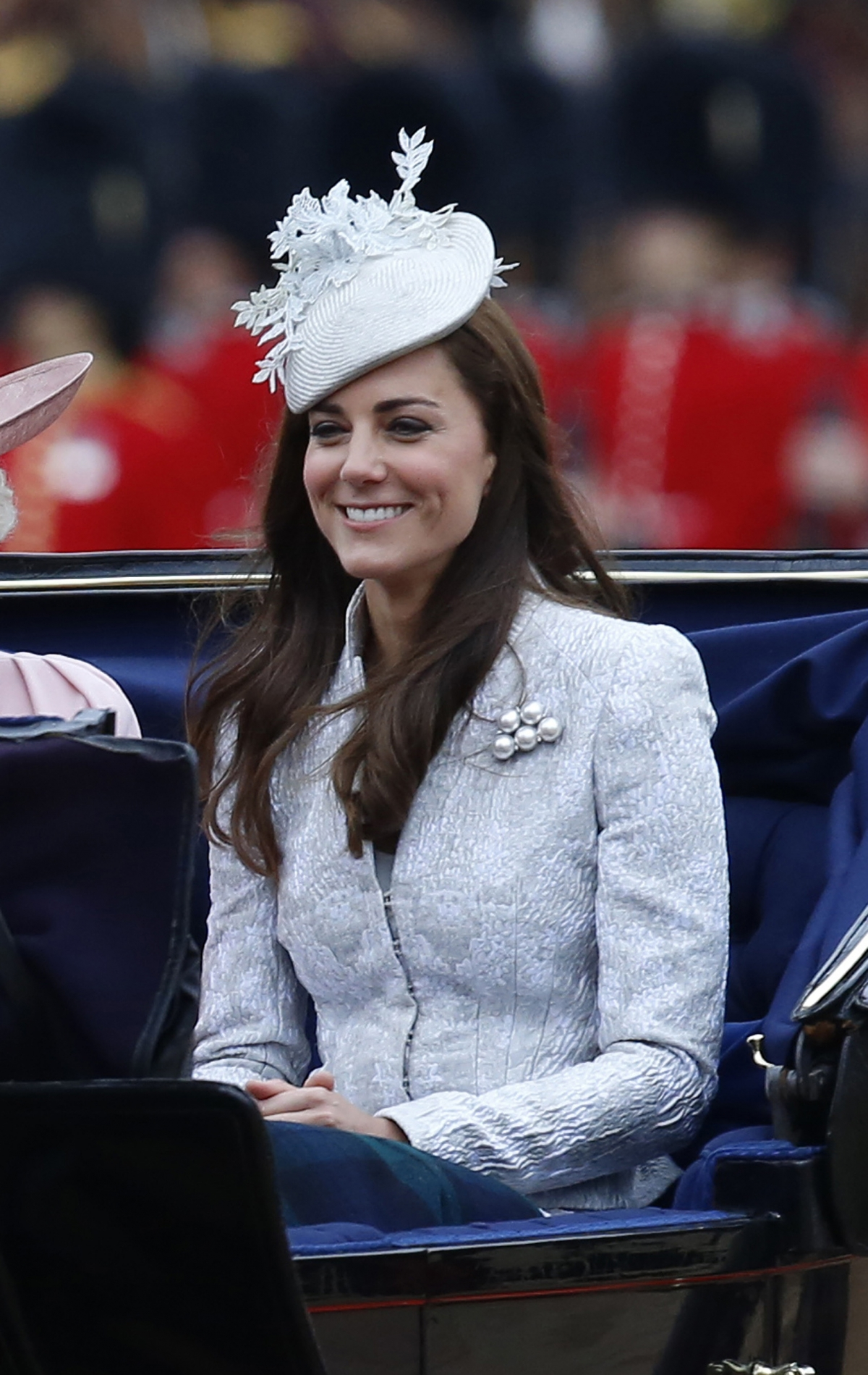 Catherine, Duchess of Cambridge arrives for the annual Trooping the Colour ceremony at Horse Guards Parade in central London