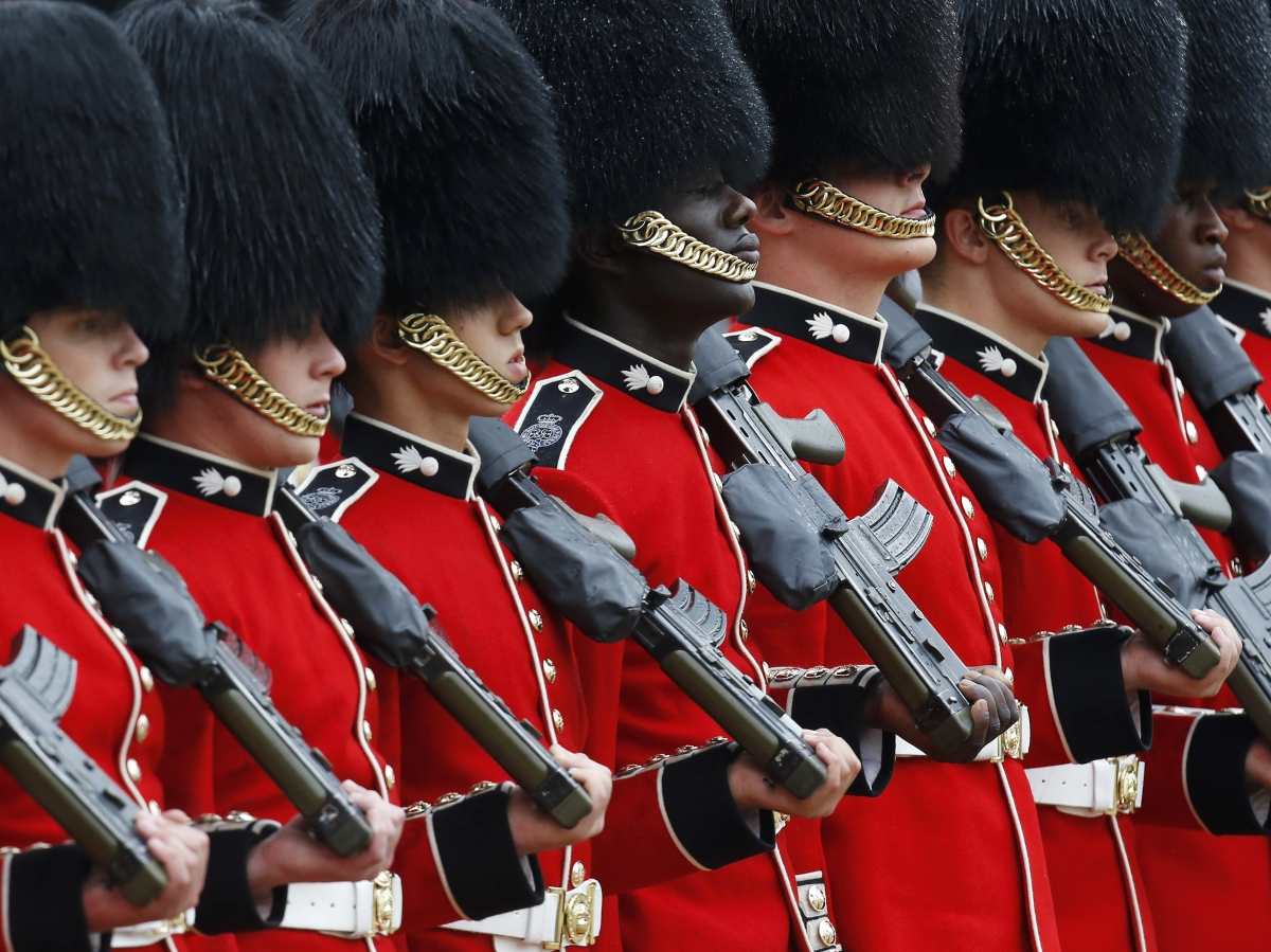 Guardsmen of the Grenadier Guards parade during the Colonel's Review ceremony at Horse Guards Parade in London