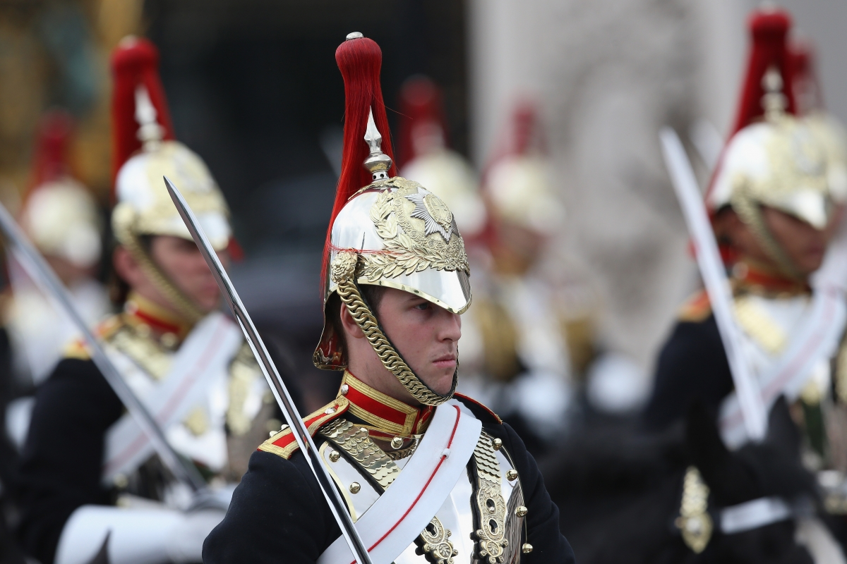 Members of the Household Cavalry passes prior to the Trooping the Colour (Getty)