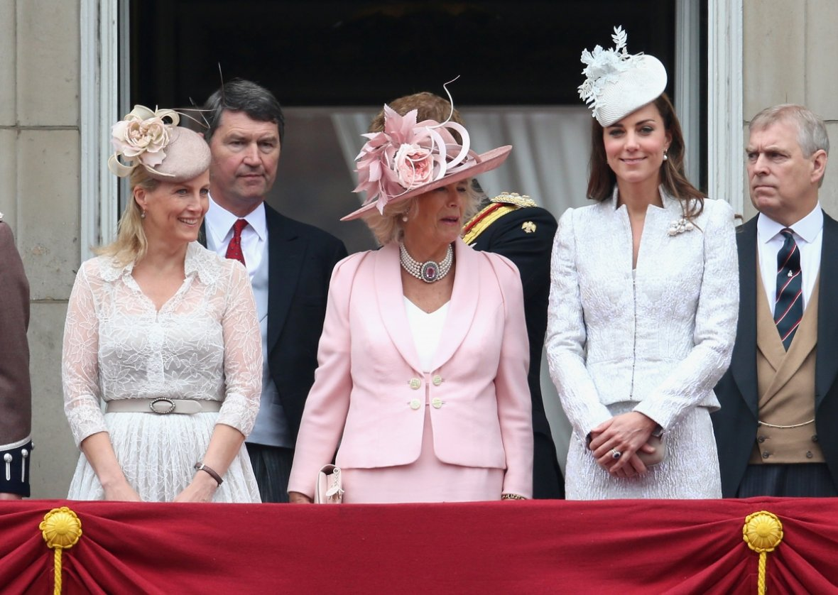 Catherine, Duchess of Cambridge, Sophie, Countess of Wessex and Camilla, Duchess of Cornwall on the balcony during during Trooping the Colour (Getty)