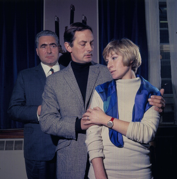 Francis Matthews and actress Ann Lynn in a scene from the television drama series 'The Confession' in 1968