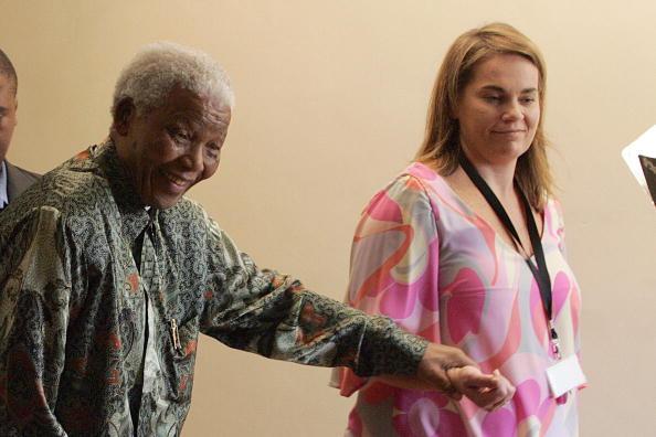 Nelson Mandela with his personal assistant Zelda la Grange