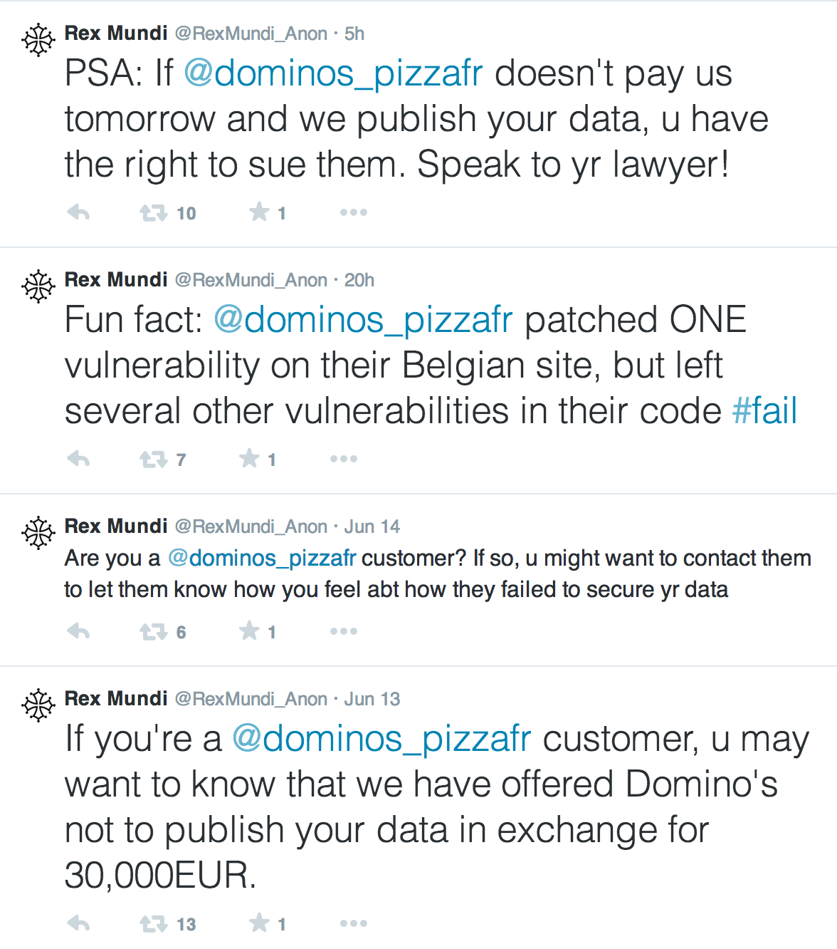 Rex Mundi Twitter Account Dominos Breach