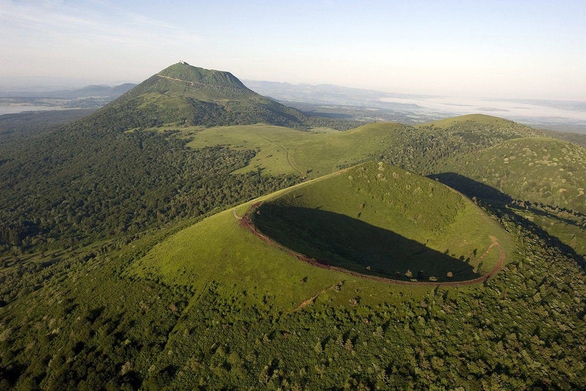 The Chaine des Puys,a volcanic chain of 80 volcanoes over a distance of 32 km, near Clermont-Ferrand, France