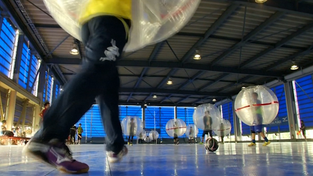 Japanese Compete in Bubble Football Championship