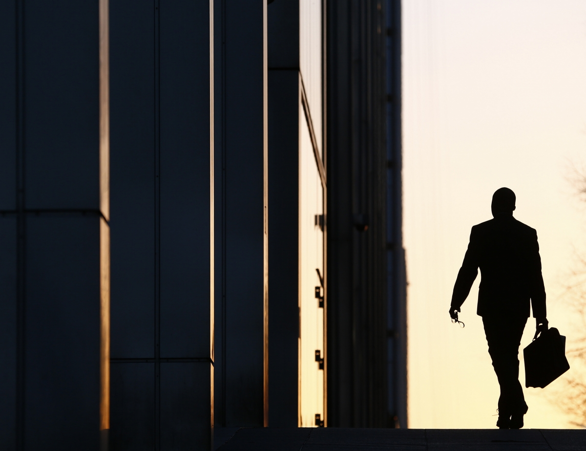 Worker in Canary Wharf