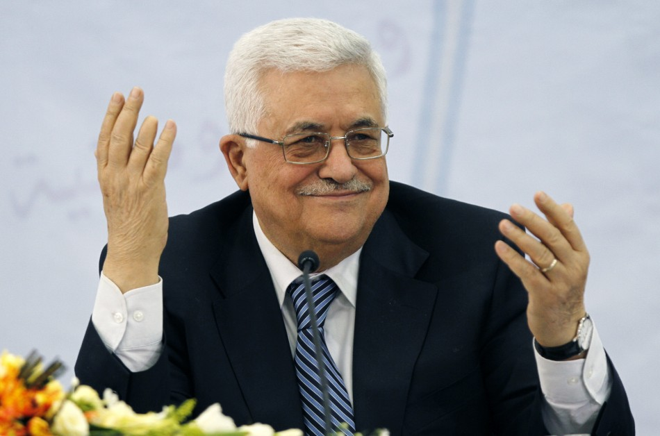 Palestinian President Mahmoud Abbas gestures during a PLO central committee meeting in Ramallah