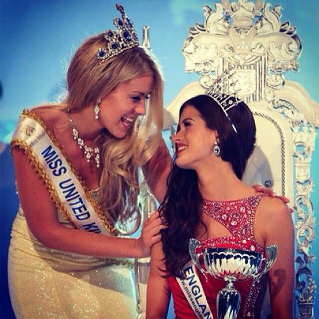 Carina Tyrrell is crowned Miss England 2014 last year's winner Kirsty Heslewood.