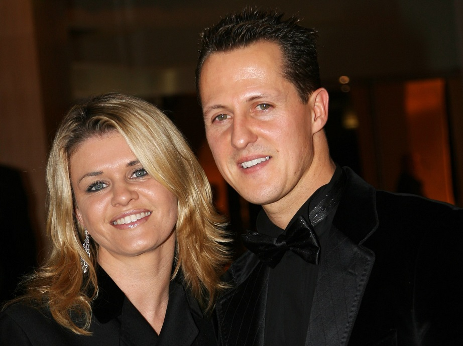 Michael Schumacher is communicating with wife Corinna (left) by using his eyes