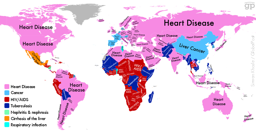 Sickness map of the world ranks the top killers across countries and continents