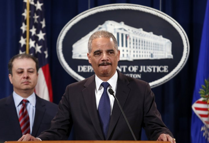 U.S. Attorney General Eric Holder speaks at a news conference at the Justice Department in Washington