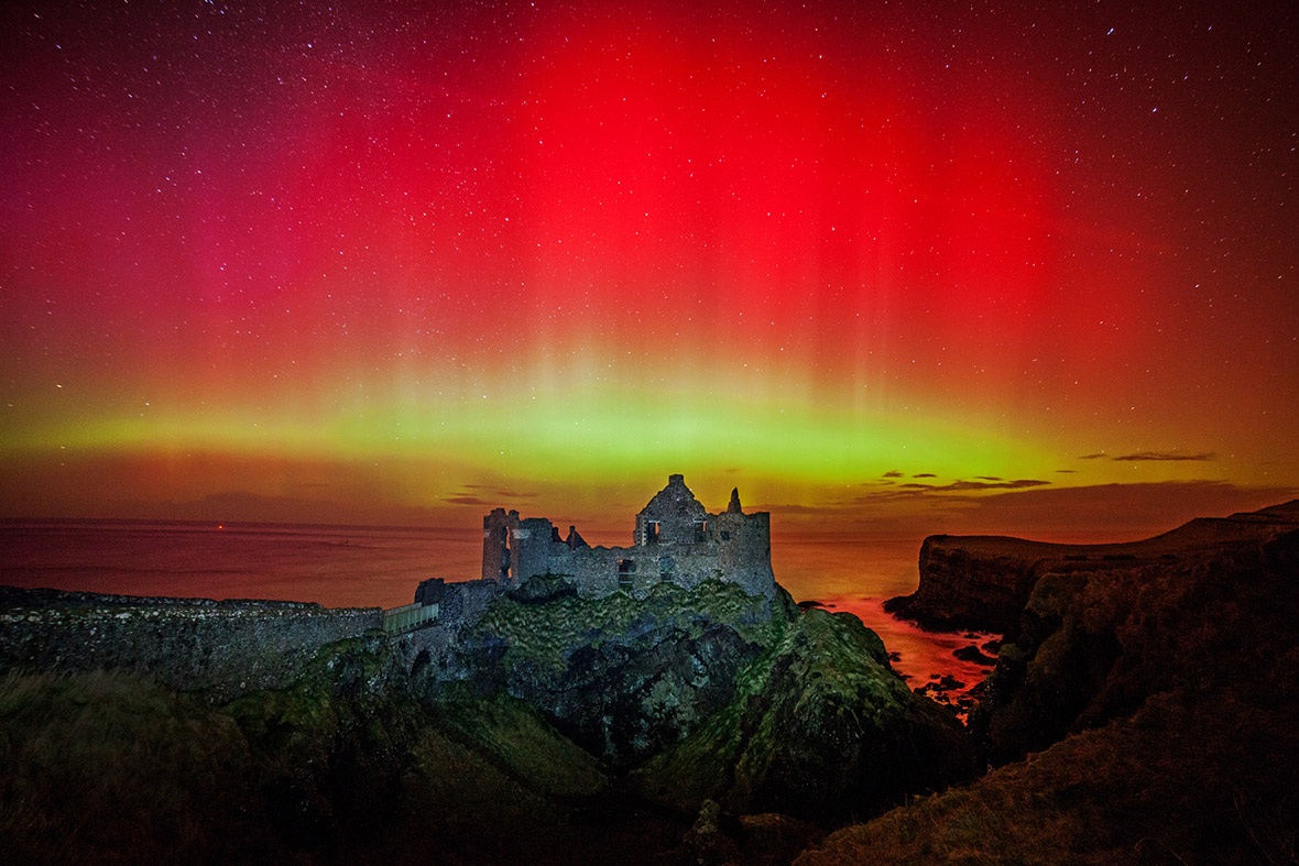 Storm Force Aurora at Dunluce Castle by Martina Gardiner